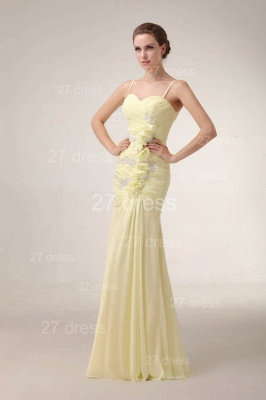 Sexy Yellow Mermaid Evening Dress UKes UK Spaghetti Straps Beadings Prom Gowns_5