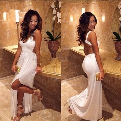 Elegant White Sleeveless Prom Dress UK Sexy With Slit BK0_3