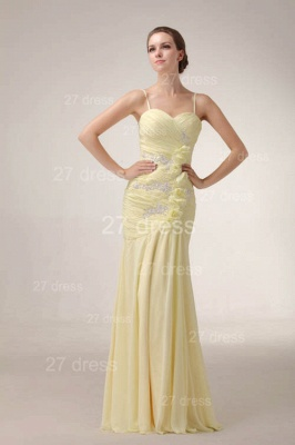 Sexy Yellow Mermaid Evening Dress UKes UK Spaghetti Straps Beadings Prom Gowns_2