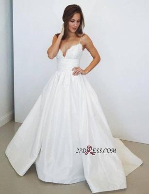 A-Line Spaghetti-Straps Lace Elegant Wedding Dress_2
