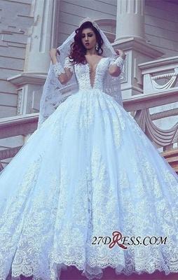 Long-Sleeve Modest Court-Train V-neck Ball-Gown Lace Wedding Dress_3