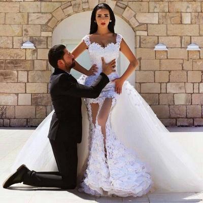 Gorgeous Lace Appliques Wedding Dress Tulle Train Cap Sleeve_5