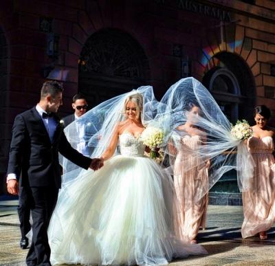 Newest White Tulle Lace Beadss Wedding Dress Sweetheart Sleeveless BA1408_4