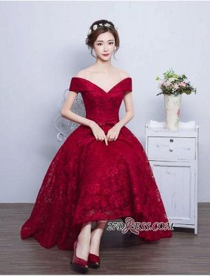 Burgundy Off-the-Shoulder A-line Lace Vintage Tea-Length Prom Dress UKes UK BA4449_1
