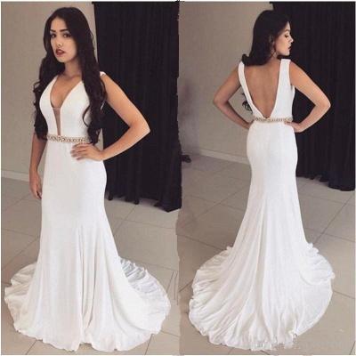 Bodycon Straps White Sleeveless Crystals Modest Prom Dress UK ba9606_2
