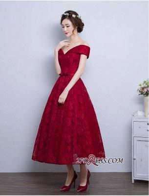 Burgundy Off-the-Shoulder A-line Lace Vintage Tea-Length Prom Dress UKes UK BA4449_2