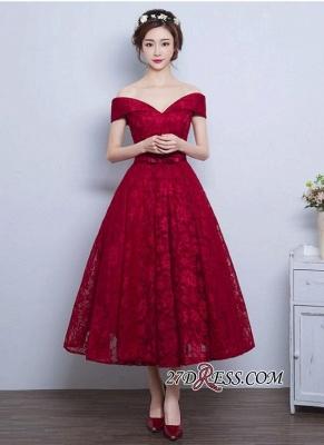 Burgundy Off-the-Shoulder A-line Lace Vintage Tea-Length Prom Dress UKes UK BA4449_3
