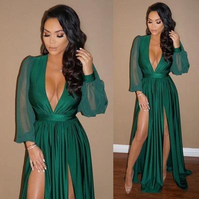 Sexy V-Neck Long Sleeve Prom Dress UK Green Split Long Evening Gowns BA7732_1
