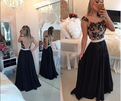 Sexy Square Chiffon Black Prom Dress UK Appliques Pearls BT0_6