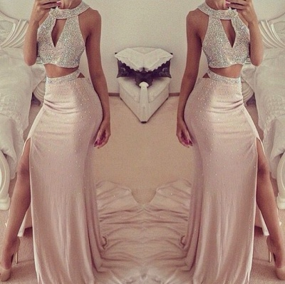 Elegant Halter Sleeveless Prom Dress UK With Front Split Beadings_2