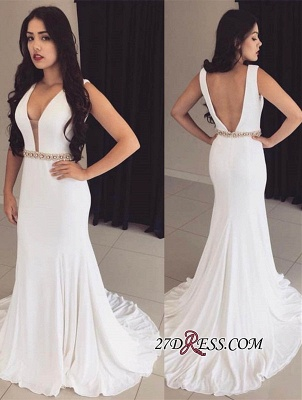 Bodycon Straps White Sleeveless Crystals Modest Prom Dress UK ba9606_1