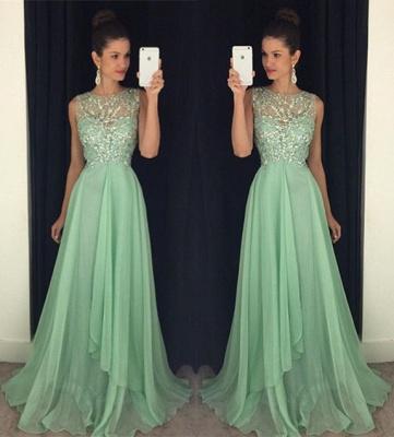 Newest Chiffon Beadings A-line Prom Dress UK Illusion Sweep Train AP0_3