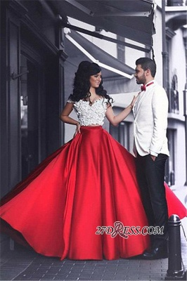 Lace Sexy Red Off-the-Shoulder Appliques Evening Dress UK_4