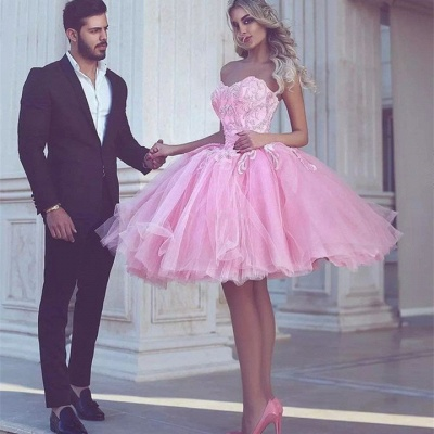 Short Appliues Pink Sweetheart-Neck Ball-Gown Homecoming Dress UKes UK_3
