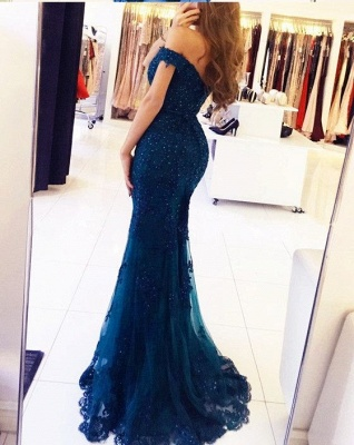 Off-the-Shoulder Prom Dress UK | Lace Appliques Evening Gowns_3