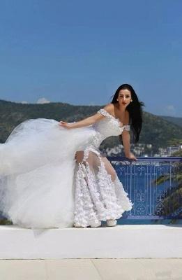 Gorgeous Lace Appliques Wedding Dress Tulle Train Cap Sleeve_4
