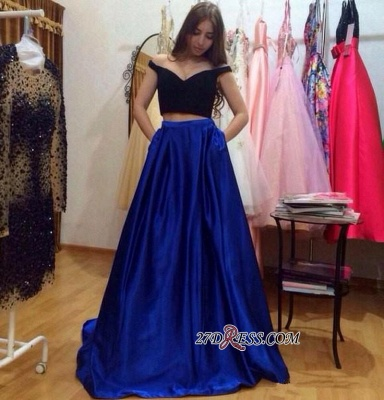 A-Line Gorgeous Off-the-Shoulder Pockets Two-Pieces Prom Dress UKes UK_1