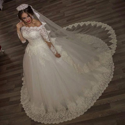 Princess off-the-shoulder Long Sleeve Wedding Dress lace Ball Gown Tulle_3