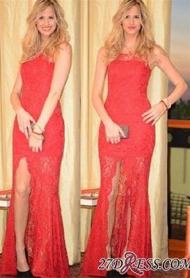 Split Long Sleeveless Full-Lace Charming Coral Prom Dress UK_2
