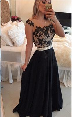 Sexy Square Chiffon Black Prom Dress UK Appliques Pearls BT0_5