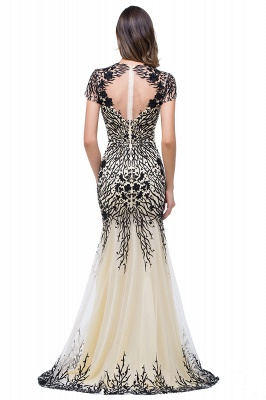 Sparkly Cap Sleeve Mother Of the Bride Dress UK Appliques Mermaid Evening Gown_5