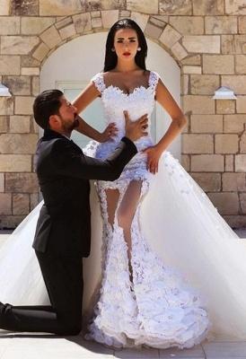 Gorgeous Lace Appliques Wedding Dress Tulle Train Cap Sleeve_2