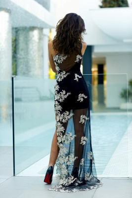 Elegant Tulle Appliques Bodycon Prom Dress UK One Shoulder Sweep Train_5