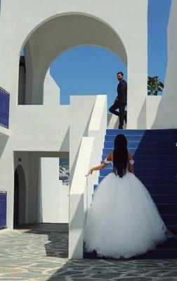 Gorgeous Lace Appliques Wedding Dress Tulle Train Cap Sleeve_3