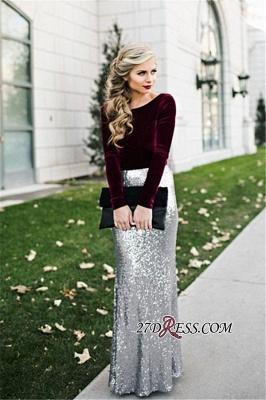 Sleeves Sequins Sheath Burgundy Latest Long Winter Silver Velvet Evening Dress UKes UK BA3601_1