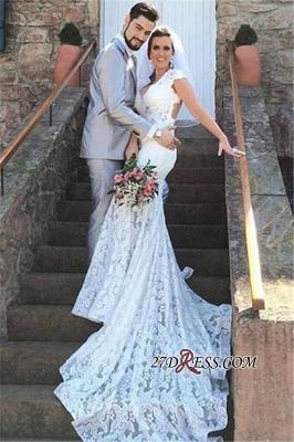 Elegant V-Neck Sexy Mermaid Sleeveless Open-Back Lace Wedding Dress_3