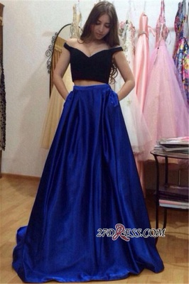 A-Line Gorgeous Off-the-Shoulder Pockets Two-Pieces Prom Dress UKes UK_2