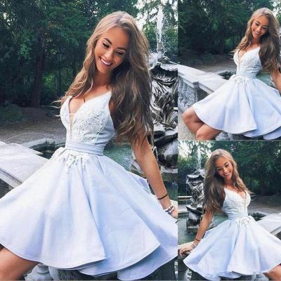 Cute Straps A-line Lace Ruffles Short Homecoming Dress UK_3