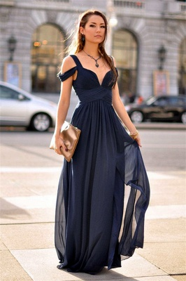 Sexy Navy Blue Chiffon Prom Dress UK Split Ruched BA2769_1