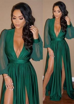 Sexy V-Neck Long Sleeve Prom Dress UK Green Split Long Evening Gowns BA7732_3