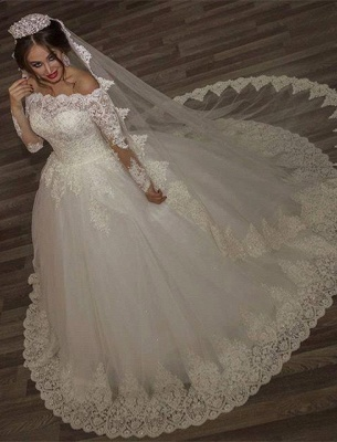 Princess off-the-shoulder Long Sleeve Wedding Dress lace Ball Gown Tulle_1