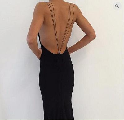 Modern Black Spaghetti Strap Prom Dress UK Front Split Open Back_3