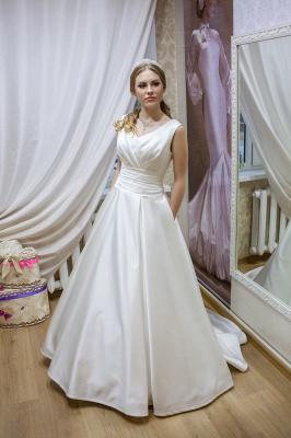 Modern V-neck Sleeveless Wedding Dress Lace-up With Bow_1