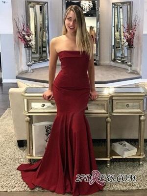 Mermaid Long Burgundy Strapless Sweep Train Prom Dress UKes UK_1