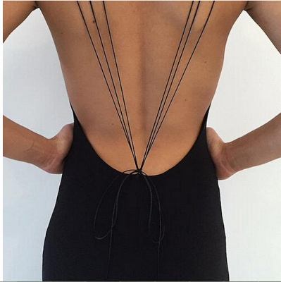 Modern Black Spaghetti Strap Prom Dress UK Front Split Open Back_4