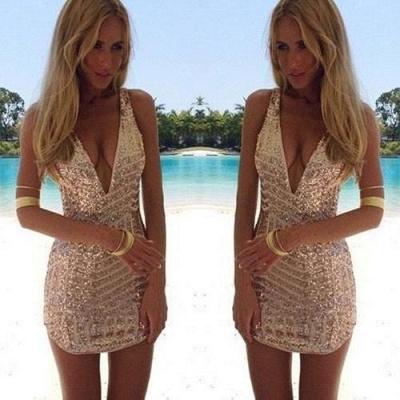 Sequins V-Neck Sleeveless Elegant Short Homecoming Dress UK_3