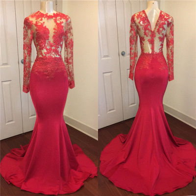 Red lace mermaid prom Dress UK, long evening gowns online_1