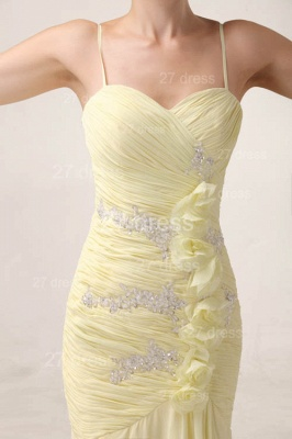 Sexy Yellow Mermaid Evening Dress UKes UK Spaghetti Straps Beadings Prom Gowns_3