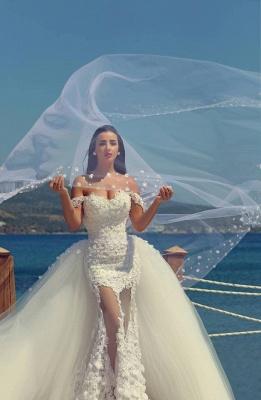 Gorgeous Lace Appliques Wedding Dress Tulle Train Cap Sleeve_6
