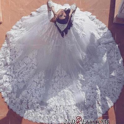 Long-Sleeve Modest Court-Train V-neck Ball-Gown Lace Wedding Dress_2