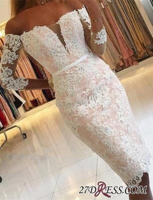 Off-the-Shoulder Long-Sleeves Appliques Sheath Pink Elegant Homecoming Dress UK qq0363_3