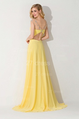 Delicate Illusion Cap Sleeve Evening Dress UK Yellow Chiffon_3