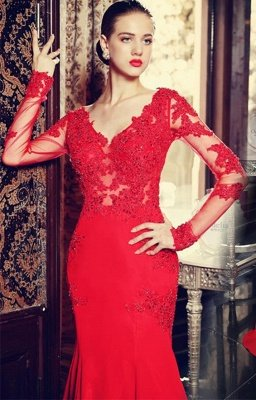 Elegant red long sleeve mermaid prom Dress UK with lace appliques sweep train_1