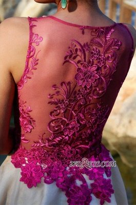 Short Sleeveless Fuchsia lovely Appliques Chiffon Lace Homecoming Dress UK_4