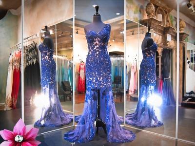 Luxury Lace Appliques Mermaid Evening Dress UK Hi-Lo One Shoulder_3