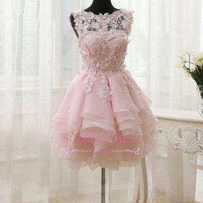 Short Straps Cute Sleeveless Flowers Ruffles Homecoming Dress UK_1